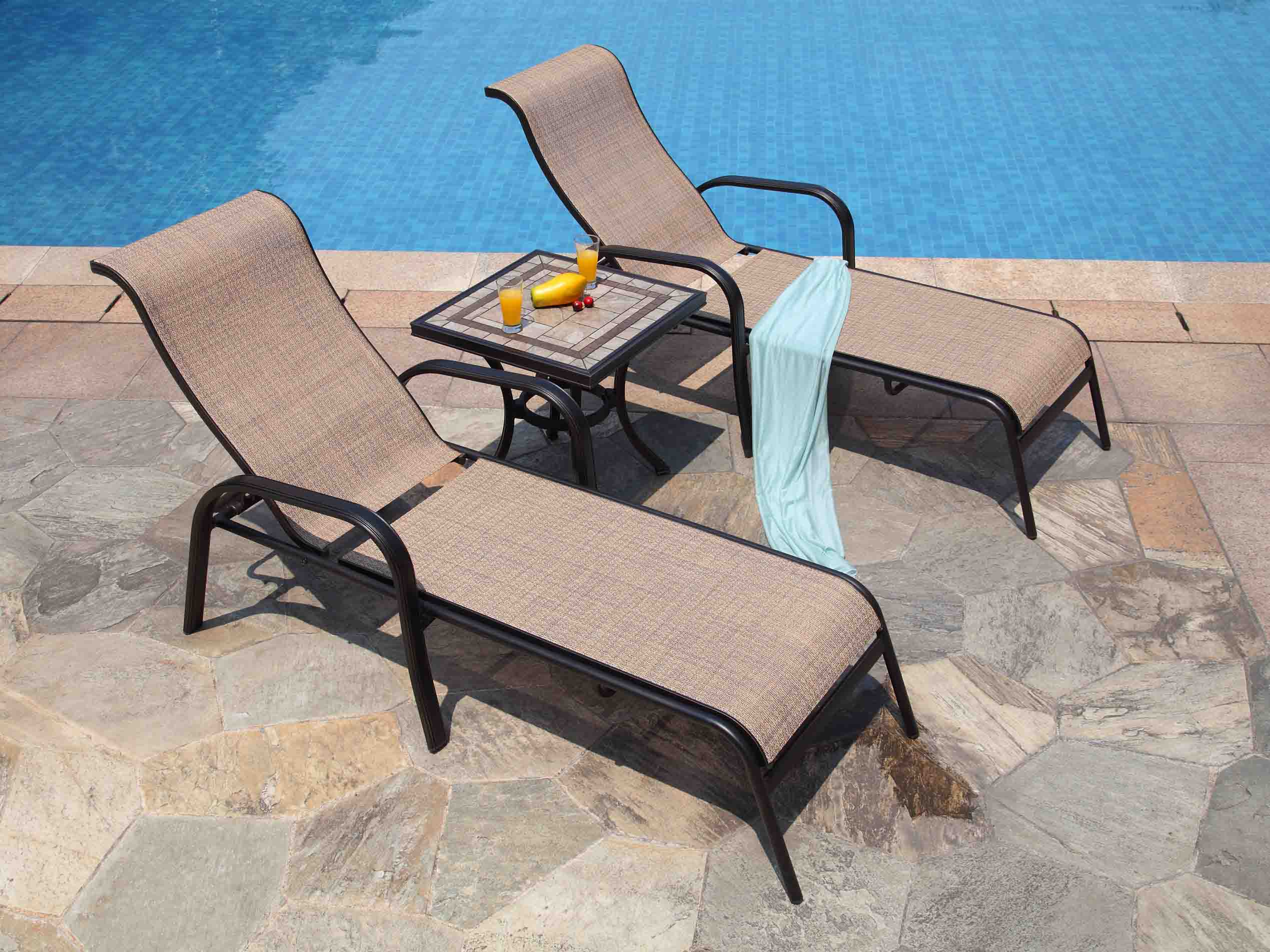 L673 Outdoor double chaise lounge chairs